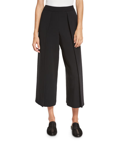 Rowe Pleated Cropped Wide-Leg Pants, Black