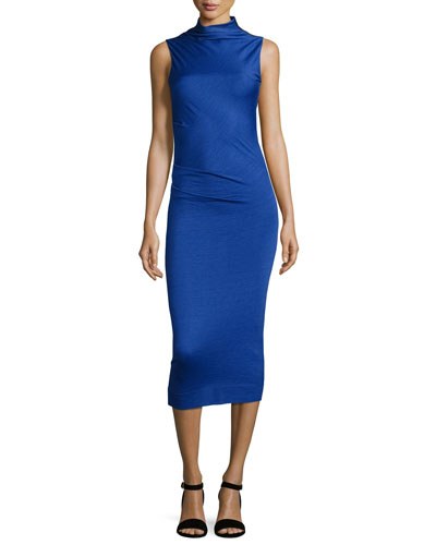 Francis Sleeveless Wool Midi Dress, Bright Blue
