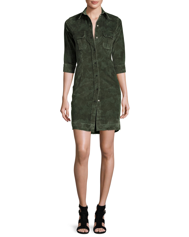 Camo-Print Corduroy Dress
