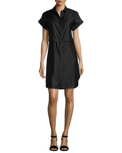 Ara Short-Sleeve Poplin Shirtdress, Navy