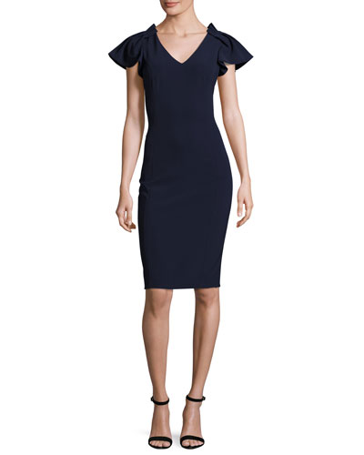 Cap-Sleeve Stretch Crepe Cocktail Dress, Navy