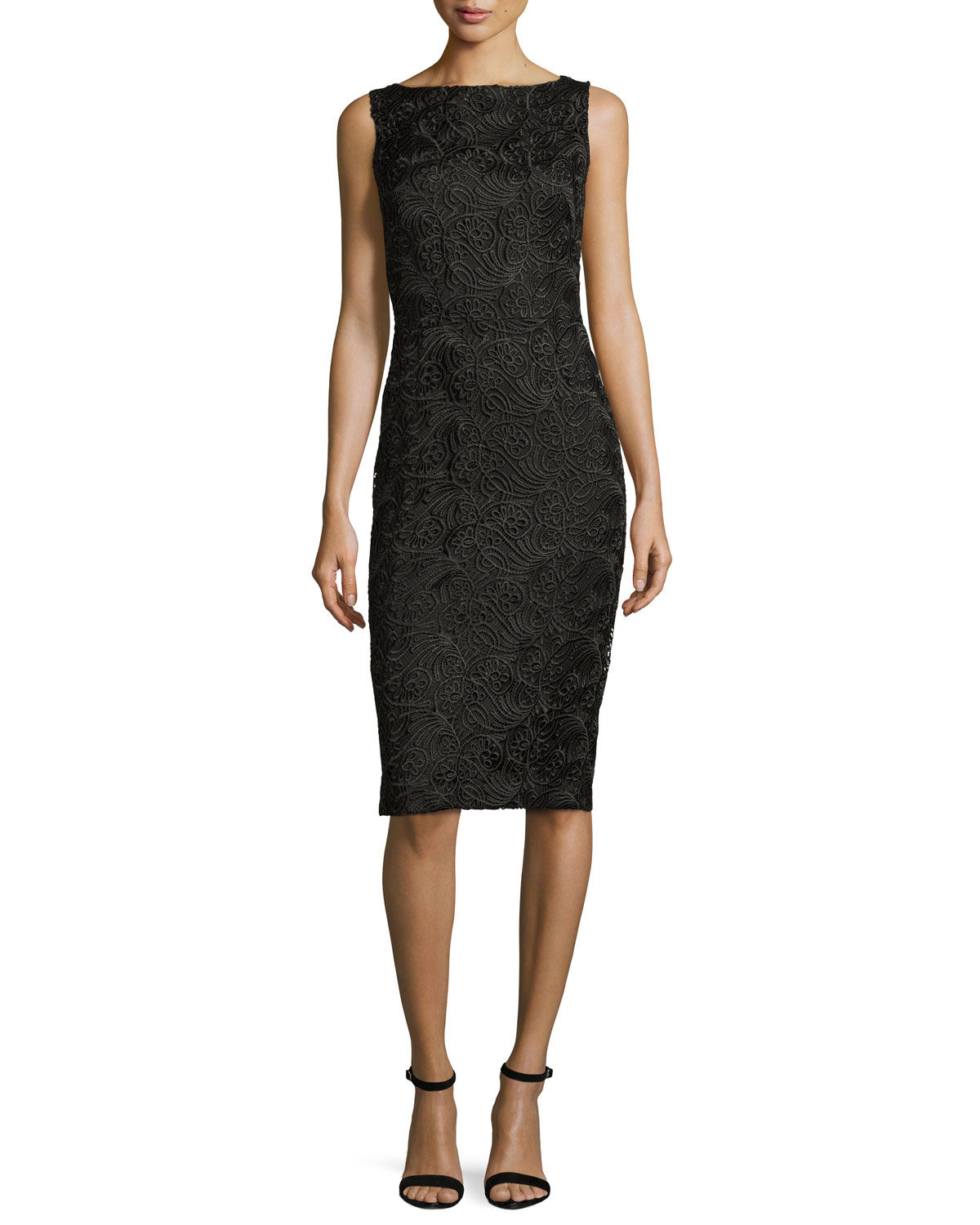 Sleeveless Embroidered Paisley Cocktail Dress, Black