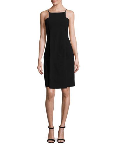 Sleeveless Paneled Cocktail Dress, Black
