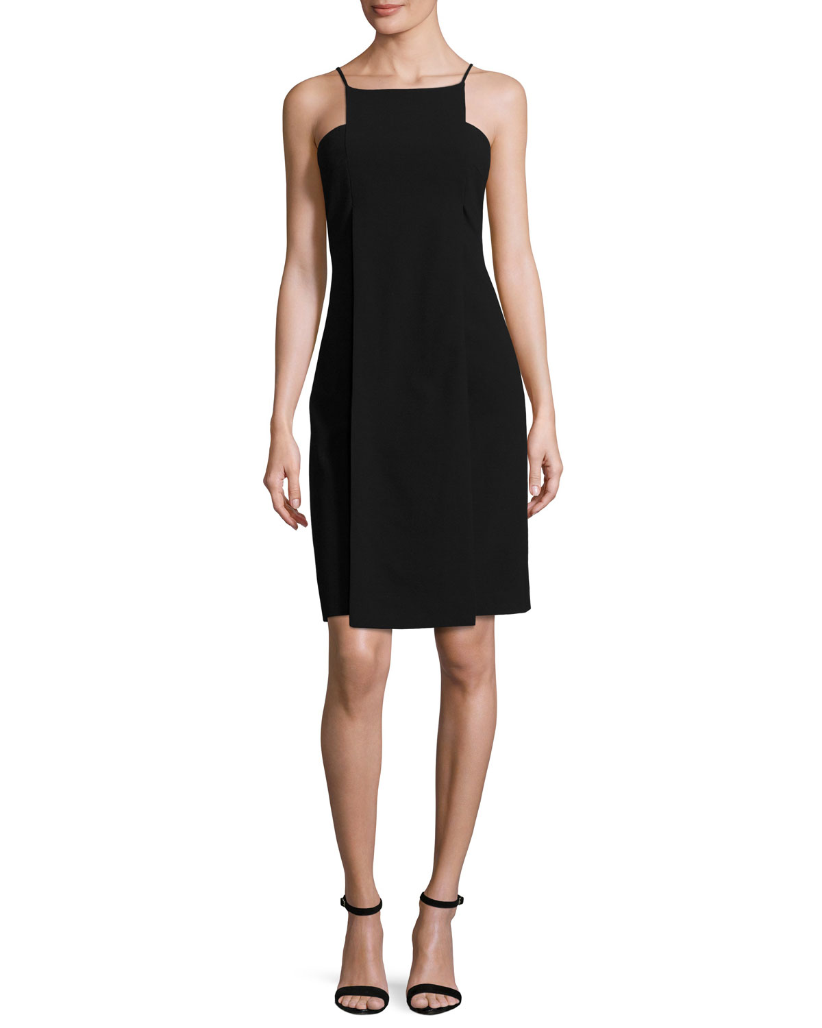 Sleeveless Paneled Cocktail Dress, Black