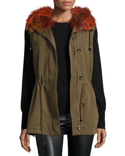 Milt Hooded Fox-Trim Vest, Green