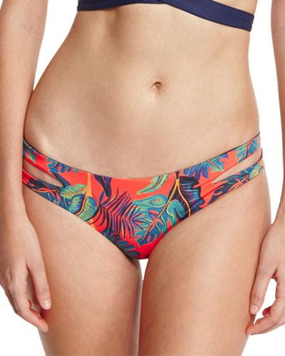 Liberty Palm Estella Reversible Cutout-Side Swim Bottom, Persimmon