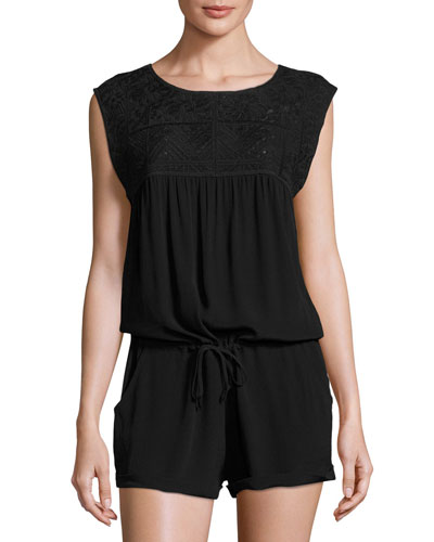 Carly Sleeveless Romper, Black