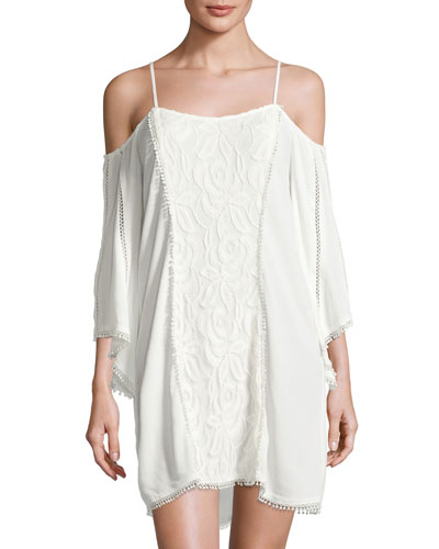 Oracle Cold-Shoulder Lace Coverup Dress