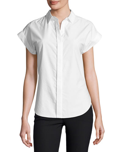 Ara Short-Sleeve Poplin Tie-Back Blouse, White