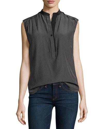 Tennant Sleeveless Striped Silk Shell, Black/White