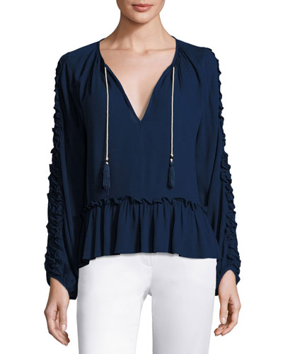 Karla Ruffle-Trim Peasant Top