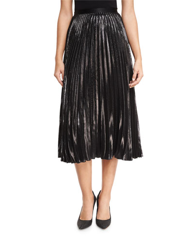 Heavyn Metallic Plissé Midi Skirt