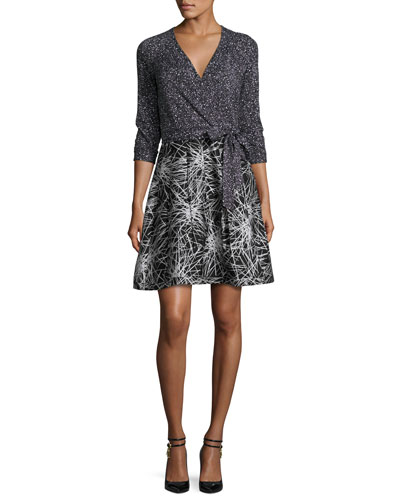 Rubie Mixed-Print Wrap Dress