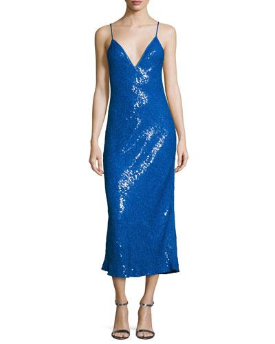 Havita Sequin-Embellished Midi Slip Dress, Neptune Blue