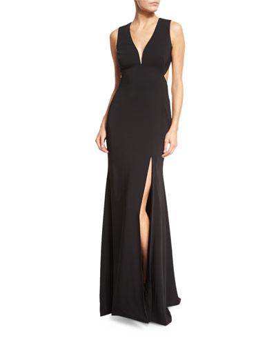 Open-Back Sleeveless Deep-V Gown, Black