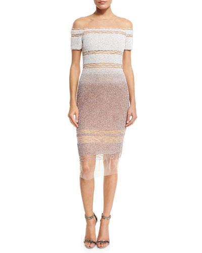 Signature Sequined Illusion Dress, White/Taupe
