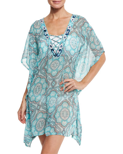 Lace-Up Sheer Printed Coverup