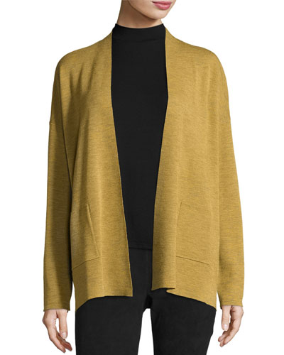 Fine Merino Wool Straight Cardigan, Plus Size
