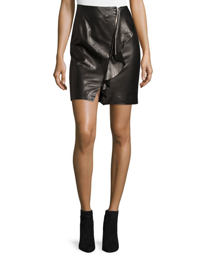 Tia Draped Leather Skirt, Black