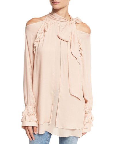 Frejan Voile Cold-Shoulder Top, Pink Sand