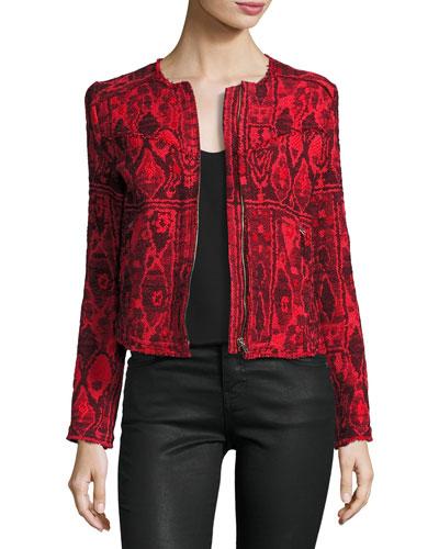 Inoui Collarless Silk Ikat Jacket, Grenadine