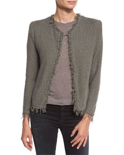 Shavani Open-Front Boucle Jacket, Steel Gray