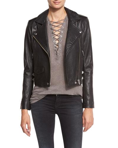 Pixy Studded Leather Jacket, Black