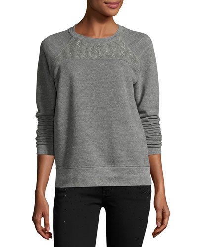 The Seamed Raglan Sweatshirt w/Studs, Heather Gray