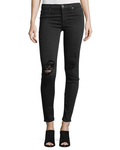 Nico Distressed Mid-Rise Skinny Jeans, Ravage