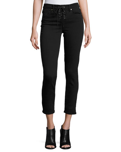 Hoxton Lace-Up Ankle Peg Jeans, Hayes