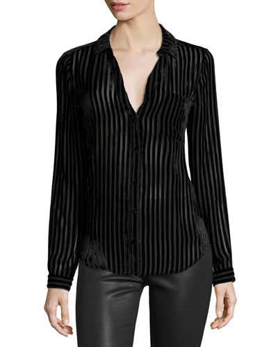 Linara Burnout Velvet Shirt, Black