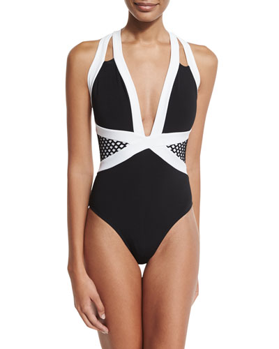 Luxe Contrast-Band Halter One-Piece Swimsuit, Black/White