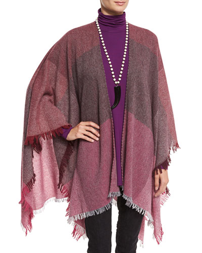 Viaggo Wool-Blend Plaid Serape, Raisin, Plus Size