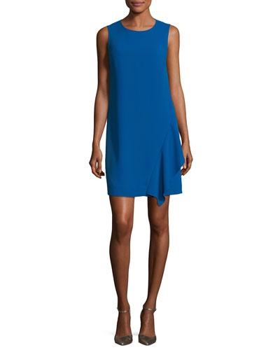 Wylda Sleeveless Ruffle-Trim Shift Dress, Neptune Blue