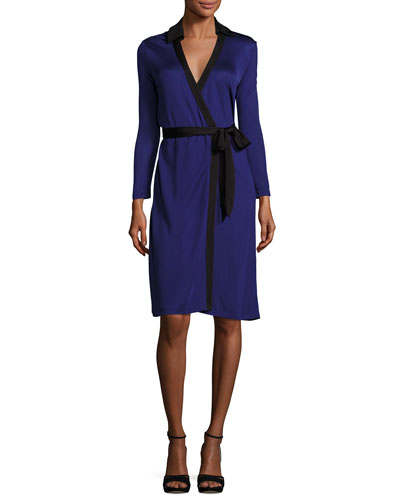 New Jeanne Wrap Dress w/Contrast Trim, Azurite Blue/Black
