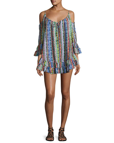 Beach Blanket Cold-Shoulder Coverup Dress