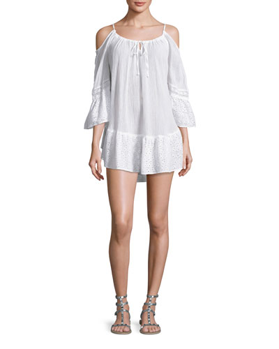 Ibiza Cold-Shoulder Gauze Coverup Dress, White