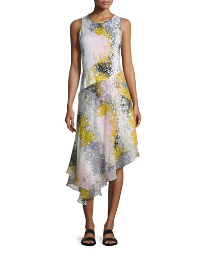 Klarra Asymmetric Splatter-Print Silk Dress