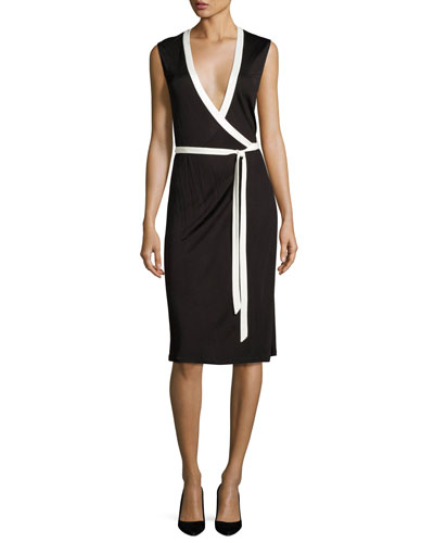 Valena Sleeveless Jersey Wrap Dress, Black/Ivory