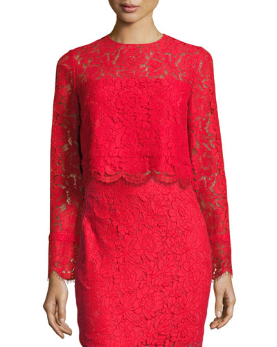Yeva Long-Sleeve Lace Top, Poppy