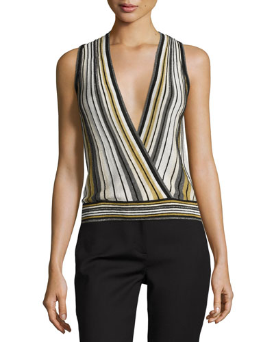 Velda Metallic Striped Surplice Top, Gold Multi
