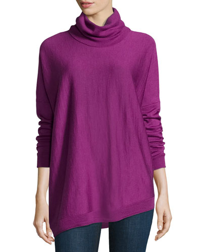 Merino Turtleneck Asymmetric Top, Petite