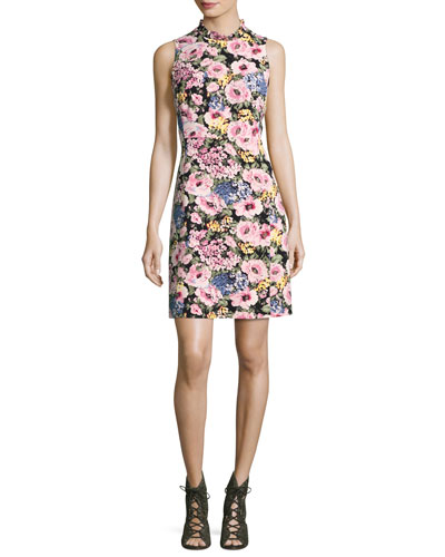 Lavinia Floral-Print Sleeveless Dress, Black/Camellia