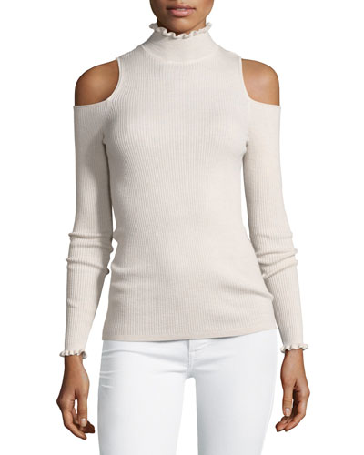 Cold-Shoulder Ribbed Ruffle-Trim Top