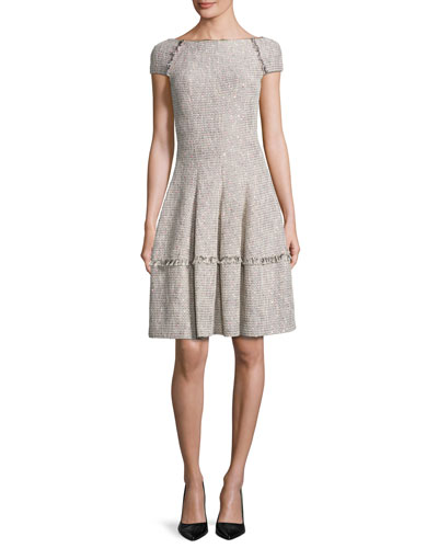 Kovalic Sparkly Boucle Tweed Dress, Beige