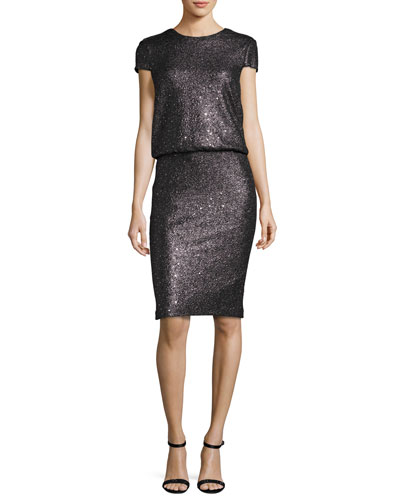 Sequined Cap-Sleeve Blouson Cocktail Dress, Dark Silver