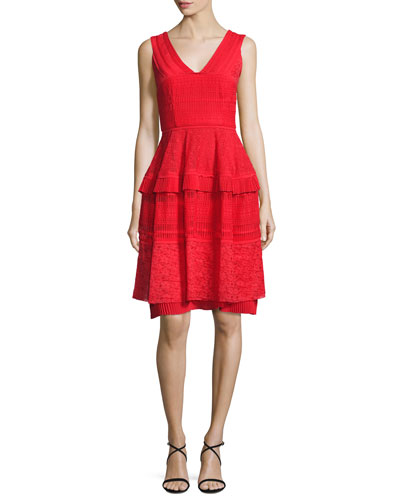Moldova Sleeveless Lace Cocktail Dress, Cerise