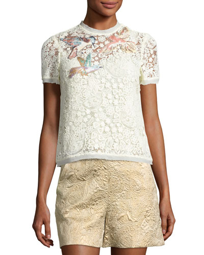 Hummingbird-Embroidered Lace Top, Ivory (Panna)