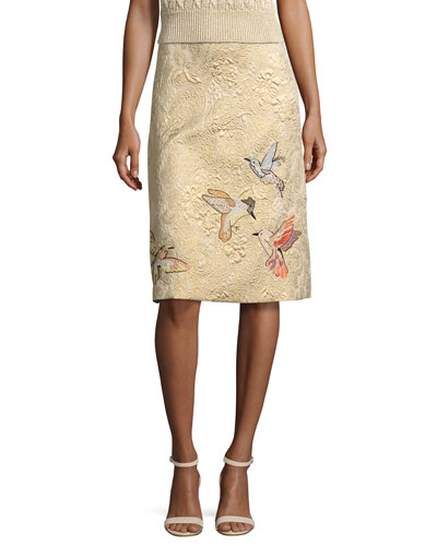 Hummingbird-Embroidered Brocade A-Line Skirt, Oro