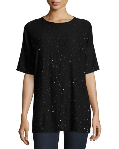 Merino Twinkle Half-Sleeve Top, Black